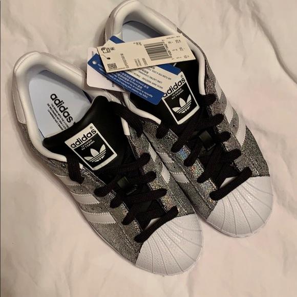 adidas superstar black and silver glitter